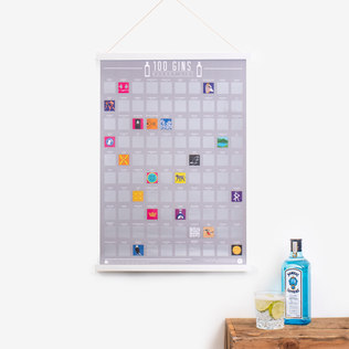 100 Gins Scratch Poster - 30th gift