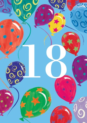 18 balloons | eighteenth age card - 18th gift