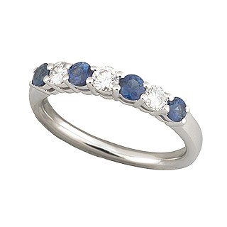18ct white gold sapphire and diamond seven stone ring -  Birthday Your Proposal - Engagement Rings
