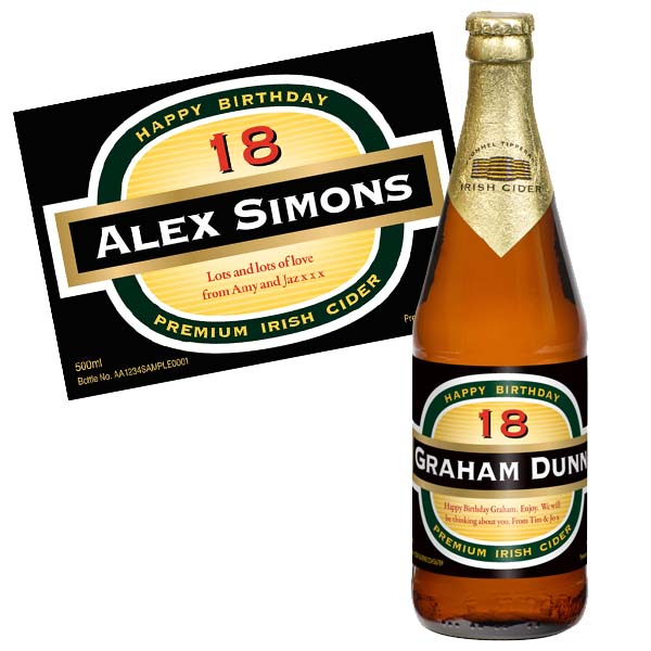 18th Birthday Personalised Bottle of Cider - 18th gift