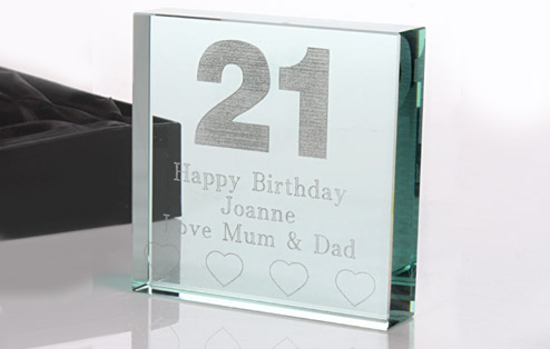 21st Birthday Keepsake Glass Block - 21st gift
