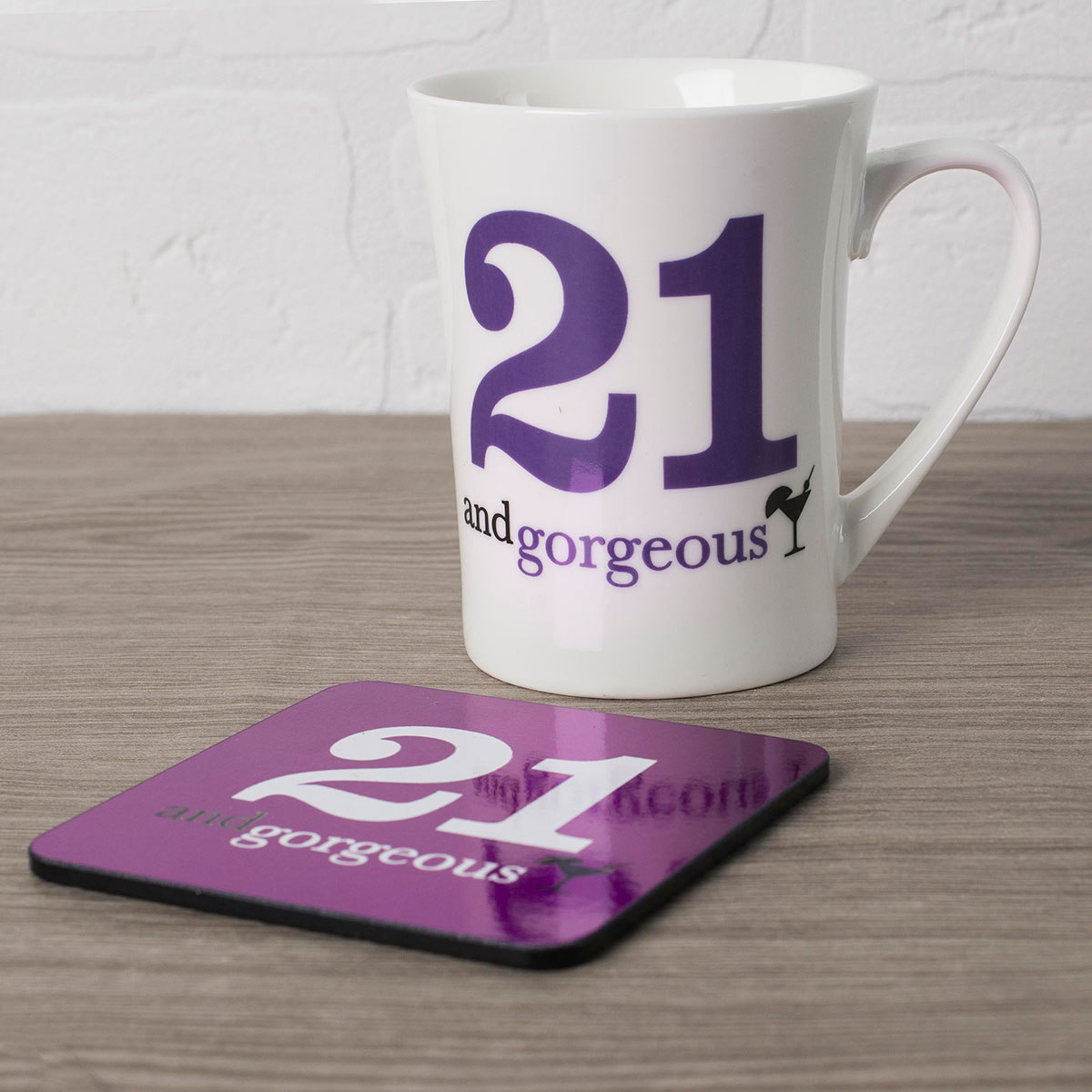 21st Birthday Mug And Coaster Set - Gorgeous - 21st gift