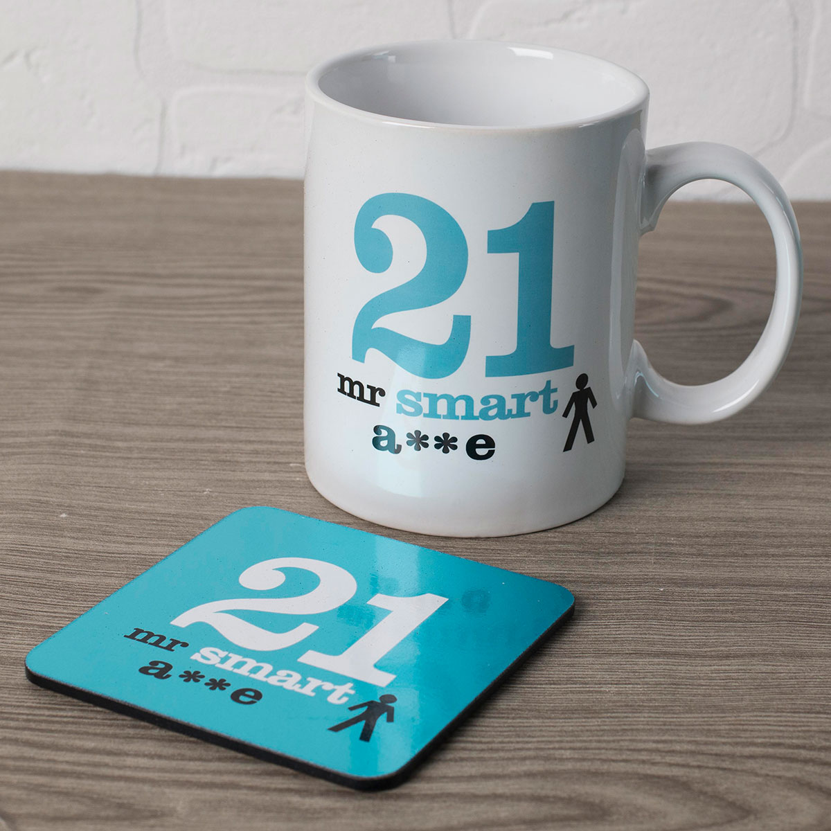 21st Birthday Mug And Coaster Set - Smart - 21st gift