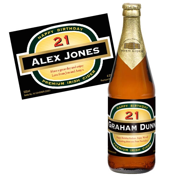 21st Birthday Personalised Bottle of Cider - 21st gift