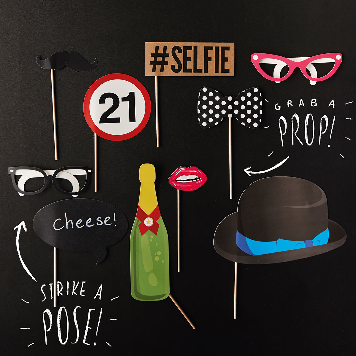 21st Birthday Photo Booth Props - 21st gift