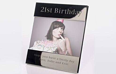 21st Birthday Shiny Silver Frame - 21st gift