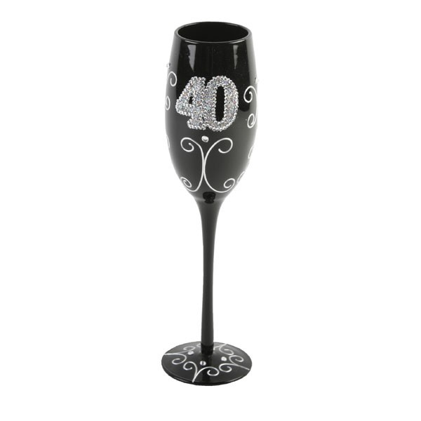 40th Birthday Black Champagne Flute - 40th Birthday Special Presents
