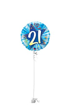 21st Blue Star Age Balloon Gift - 21st gift