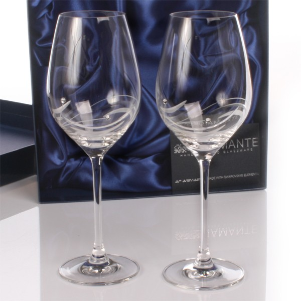 Personalised Swarovski Crystal Wine Glasses -  Birthday Your Proposal - Engagement Gifts