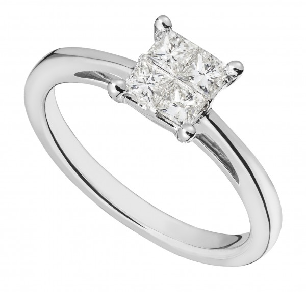 9ct white gold 0.33 carat princess cut diamond engagement ring -  Birthday Your Proposal - Engagement Rings