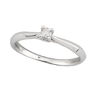 9ct white gold diamond solitaire engagement ring -  Birthday Your Proposal - Engagement Rings