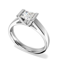 A beautiful Princess Cut solitaire diamond ring in platinum (In stock) -  Birthday Your Proposal - Engagement Rings