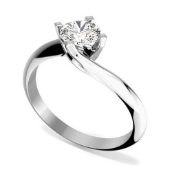 A modern Round Brilliant Cut solitaire twist diamond ring in 18ct white gold -  Birthday Your Proposal - Engagement Rings