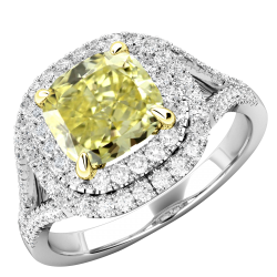 A sensational Yellow diamond double halo cluster with shoulder stones in platinum (In stock) -  Birthday Your Proposal - Engagement Rings