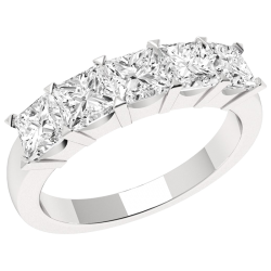 A stunning Princess Cut five stone diamond ring in platinum -  Birthday Your Proposal - Engagement Rings