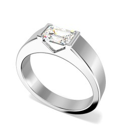 A stylish Emerald Cut solitaire diamond ring in platinum (In stock) -  Birthday Your Proposal - Engagement Rings