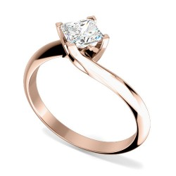 A stylish Princess Cut solitaire twist diamond ring in 18ct rose gold (In stock) -  Birthday Your Proposal - Engagement Rings