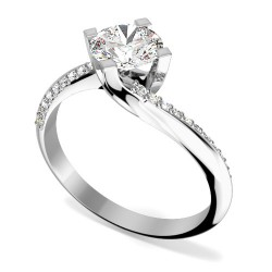 A stylish Round Brilliant Cut 'twist' engagement ring in 18ct white gold -  Birthday Your Proposal - Engagement Rings
