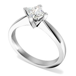 An elegant Princess Cut solitaire diamond ring in platinum (In stock) -  Birthday Your Proposal - Engagement Rings