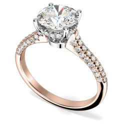 An exquisite solitaire diamond ring with shoulder stones in 18ct rose & white gold (In stock) -  Birthday Your Proposal - Engagement Rings