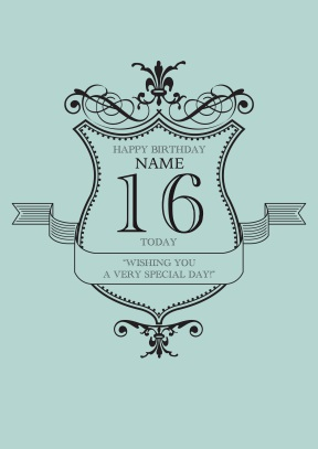Blue Special Day | 16th Birthday Card - 16th Birthday Cards