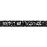 Birthday Glitz Black '18' Prismatic Banner - 3.66m - 18th gift