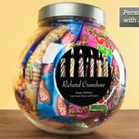 Personalised Retro Sweet Jar - Birthday Candles - 21st Birthday Gifts For Him