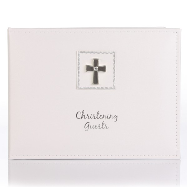 Diamond Cross Christening Guest Book - Baby  Birthday Your Baby Gifts - Girls Christening