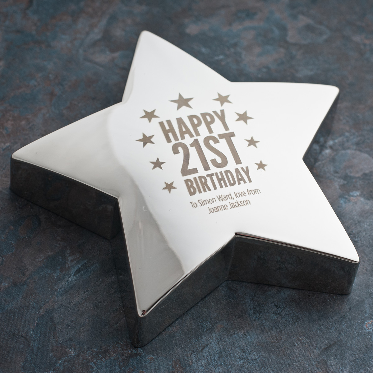 Engraved '21st Birthday Stars' Silver Star Paperweight - 21st gift