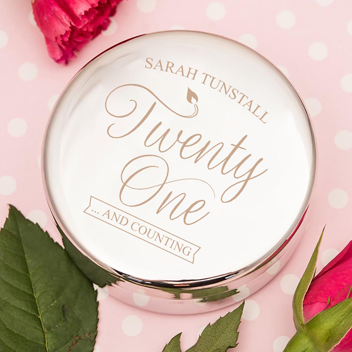 Engraved Circular Trinket Box - Twenty One - 21st gift