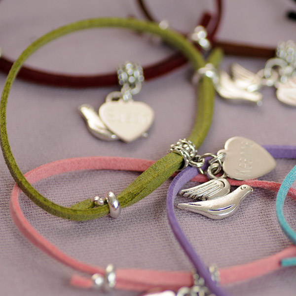 Engraved Dove Suede Bracelet - Baby  Birthday Your Baby Gifts - Gifts For Mum
