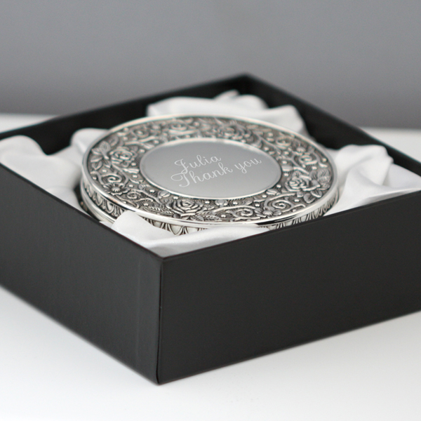 Engraved Ornate Round Jewellery Box - 21st gift
