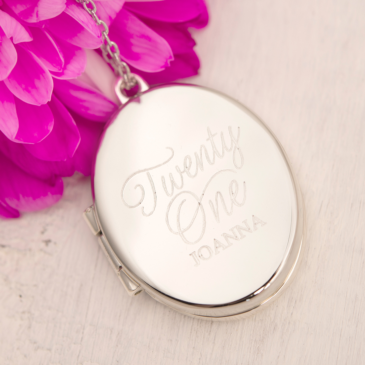 Engraved Oval-Shaped Locket Necklace - Twenty One - 21st gift