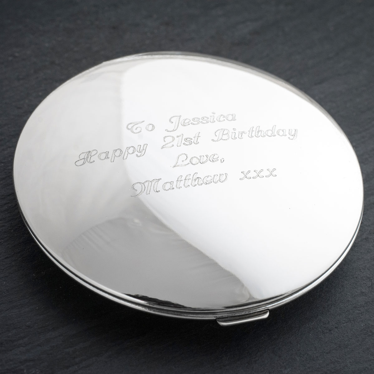 Engraved Silver Round Compact Mirror - 21st Birthday - 21st gift