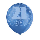 Happy 21st Birthday Balloons Blue 6 Pack - 21st gift