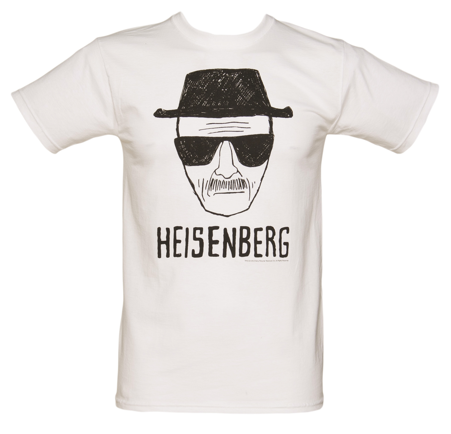 Men's White Heisenberg Sketch Breaking Bad T-Shirt - 21st gift