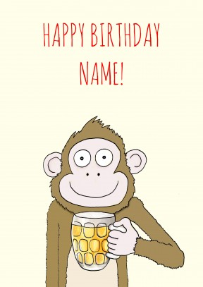Monkey Beer | Happy Birthday Card | MOZ1022 - 21st gift