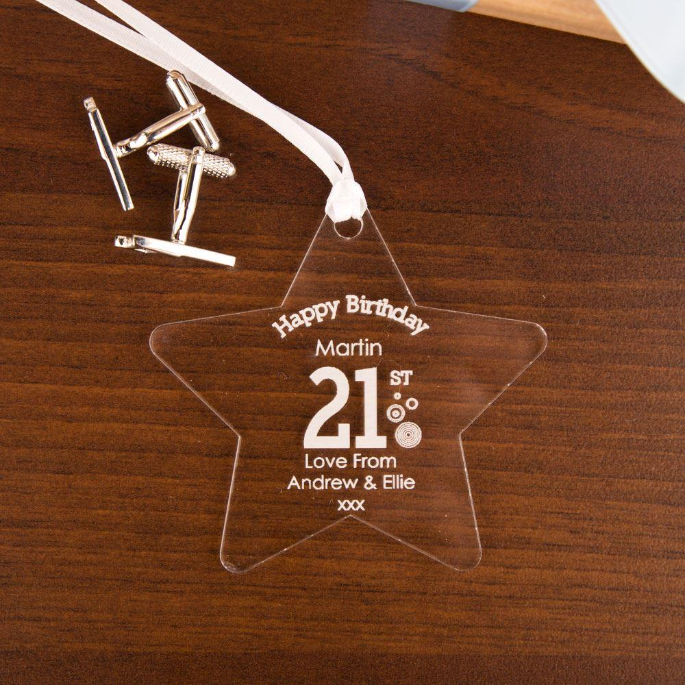 Personalised 21st Birthday Acrylic Star - 21st gift