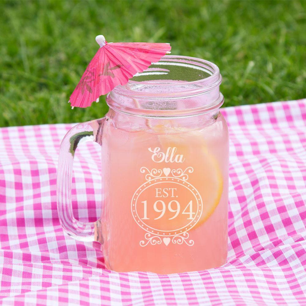 Personalised 21st Birthday Glass Mason Jar - 21st gift