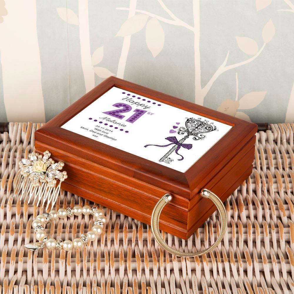 Personalised 21st Birthday Musical Jewellery Box - 21st gift