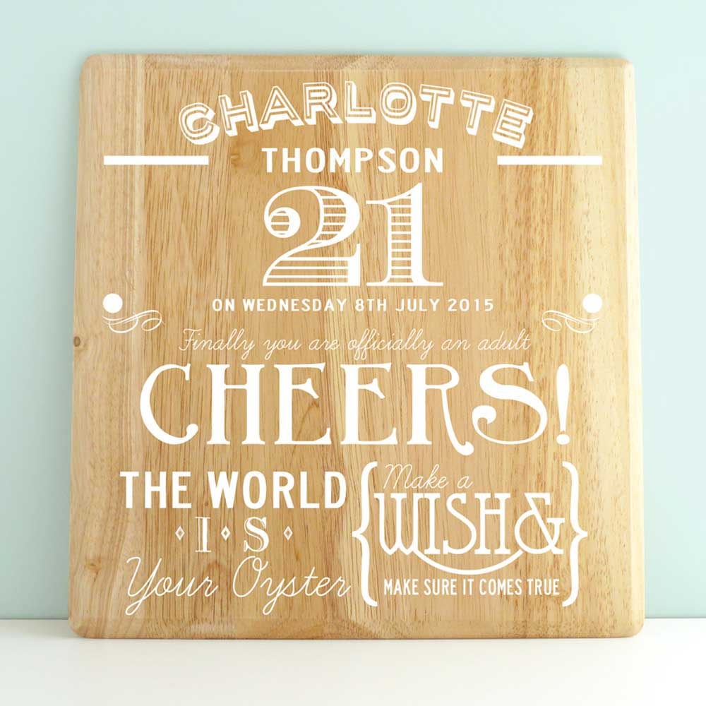 Personalised 21st Birthday Wood Print - 21st gift