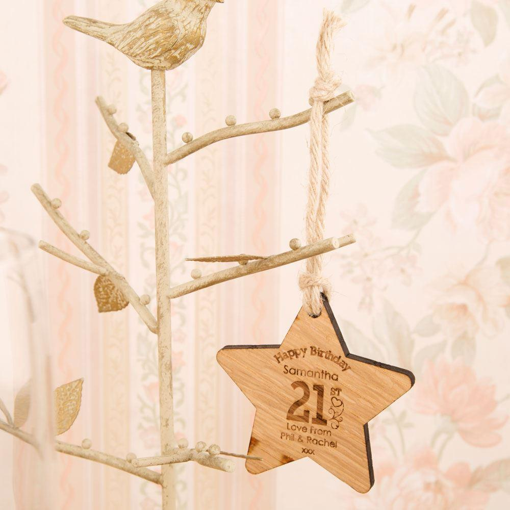 Personalised 21st Birthday Wooden Star - 21st gift