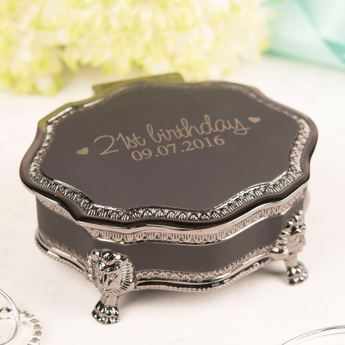 Personalised Black Vintage Jewellery Box - 21st Birthday - 21st gift