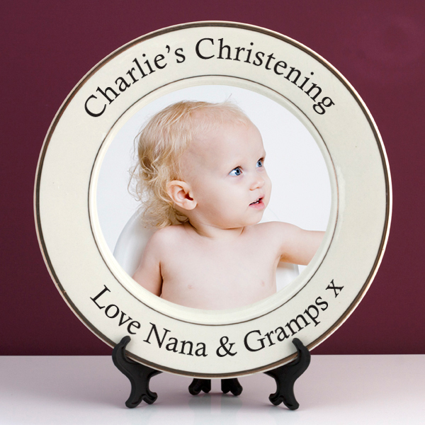Personalised Christening Photo Plate - Baby  Birthday Your Baby Gifts - Girls Christening