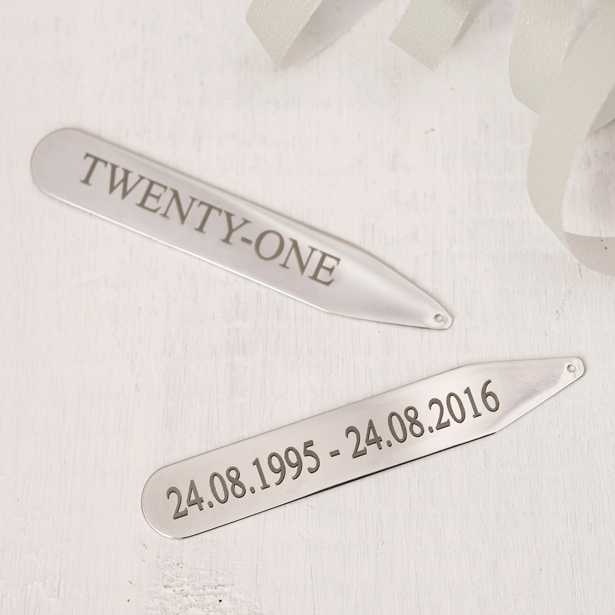 Personalised Collar Stiffeners - Twenty One - 21st gift