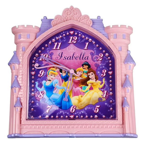Personalised Disney Princess Castle Clock - Children's Birthday Your Kids Bday - 5th Birthday