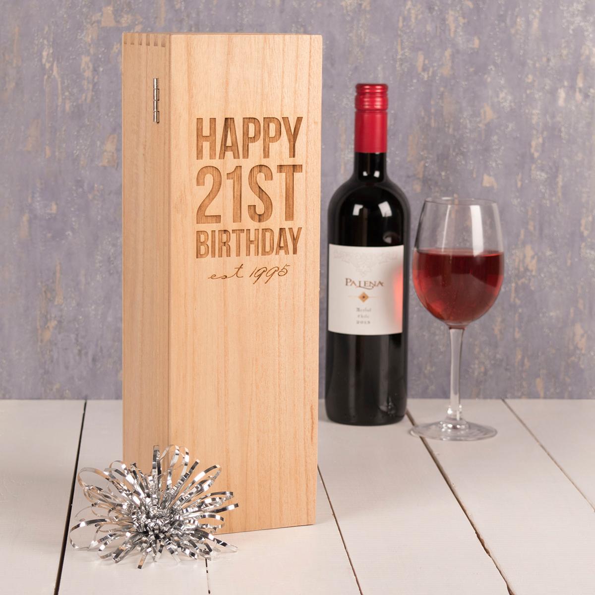 Personalised Luxury Wooden Wine Box - Happy 21st Birthday - 21st gift