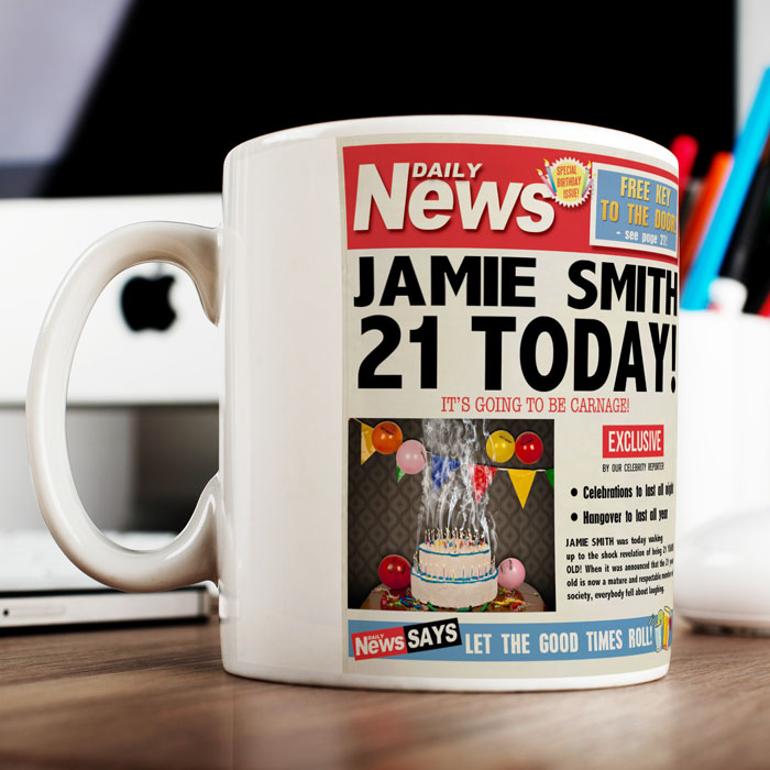 Personalised Mug - 21st Birthday News - 21st gift