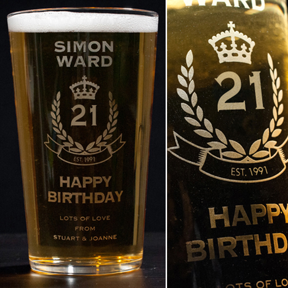 Personalised Pint Glass - 21st Birthday Crest - 21st gift
