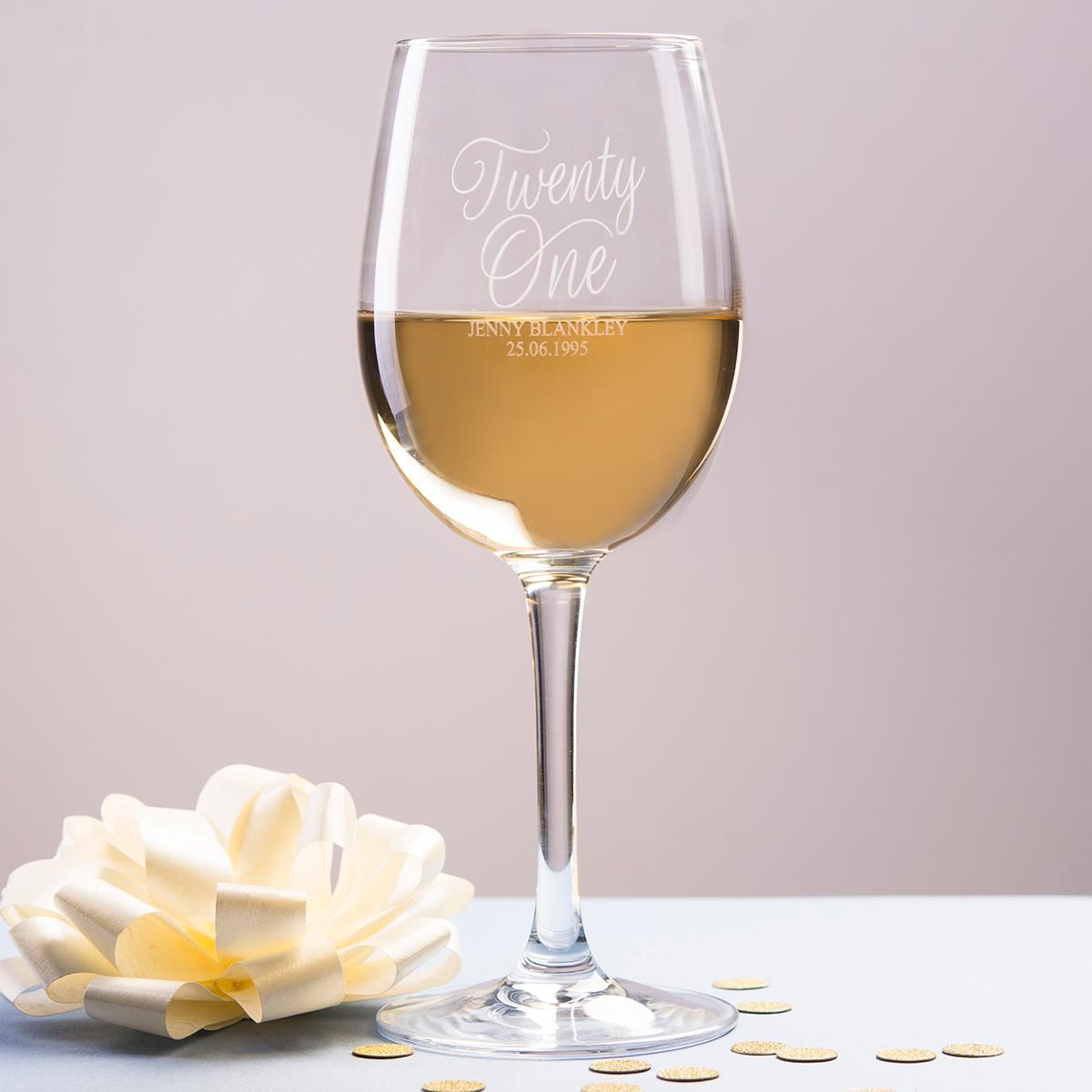 Personalised Wine Glass - Twenty One - 21st gift